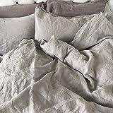 JOWOLLINA Leinen Bettwäsche 100% natur Leinen Stonewashed - Bettbezug 135x200 cm + Kissenbezug 80x80 cm, Elefanten Grau