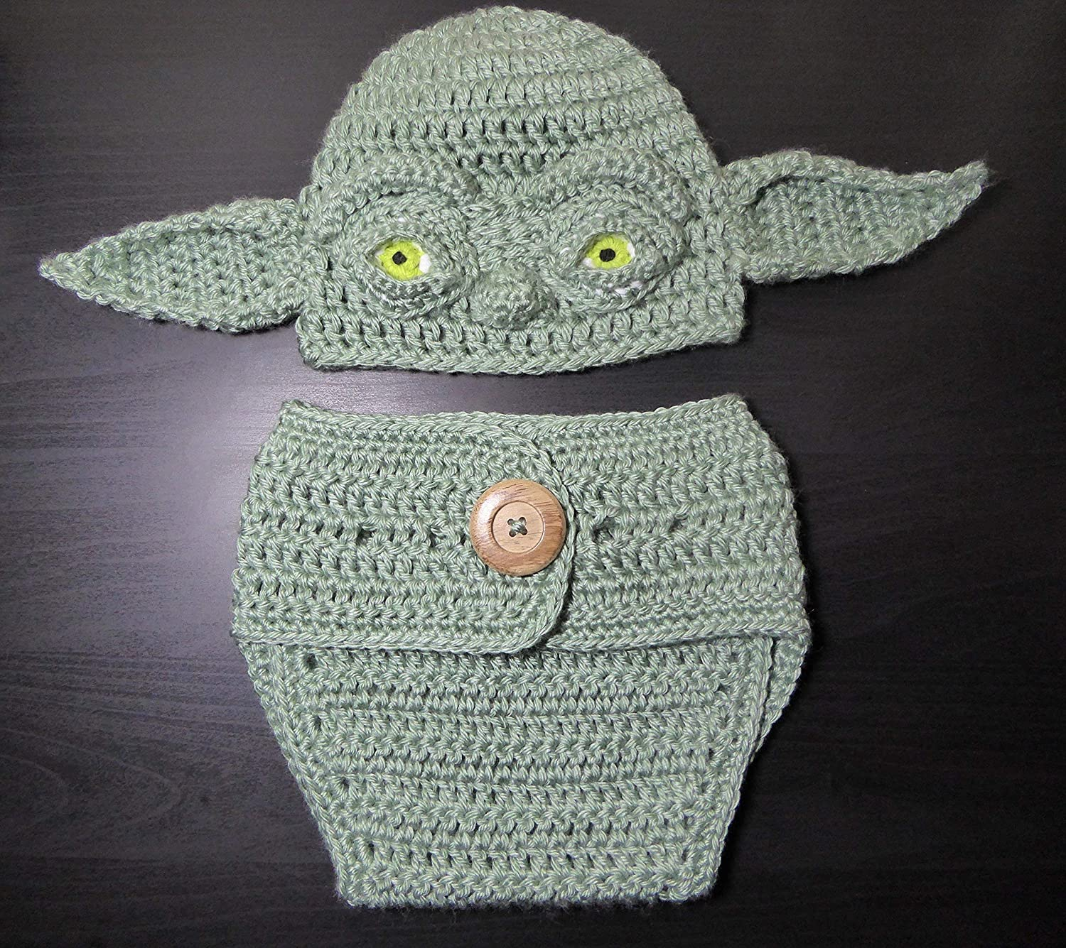 Amazon Yoda 3 D Crocheted Hat And Diaper Cover Set For Baby