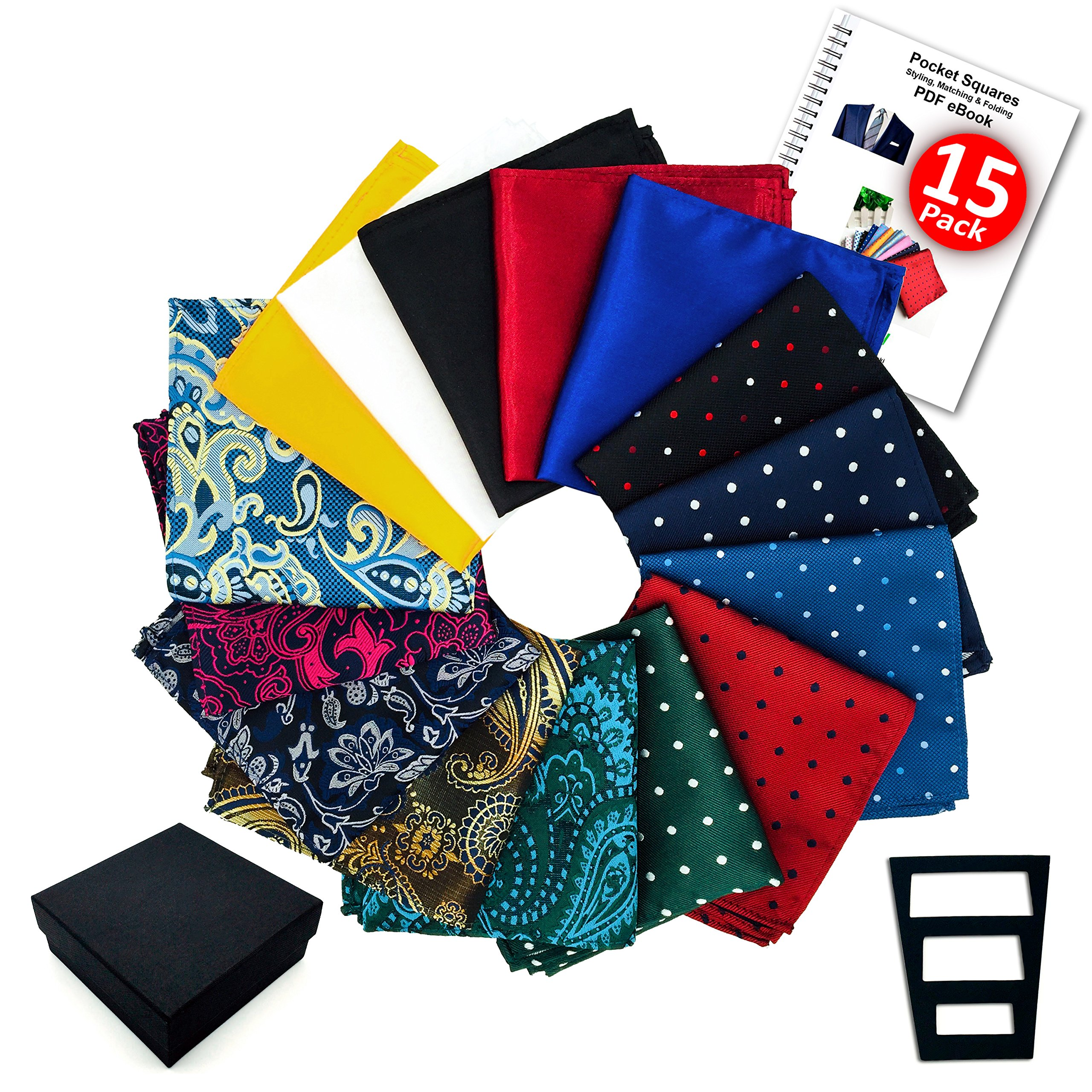 Pocket Squares for men 15 Pack set in Gift Box Assorted colors Polka dots Paisley Plain by ekSel