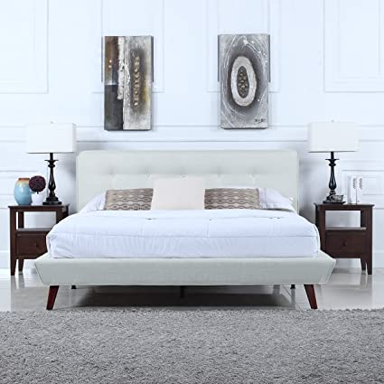Merveilleux Divano Roma Furniture Mid Century Ivory Linen Low Profile Platform Bed  Frame With Tufted Headboard