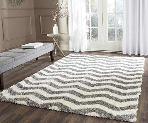 Safavieh Montreal Shag Collection SGM846B Ivory and Grey Area Rug 3 x 5