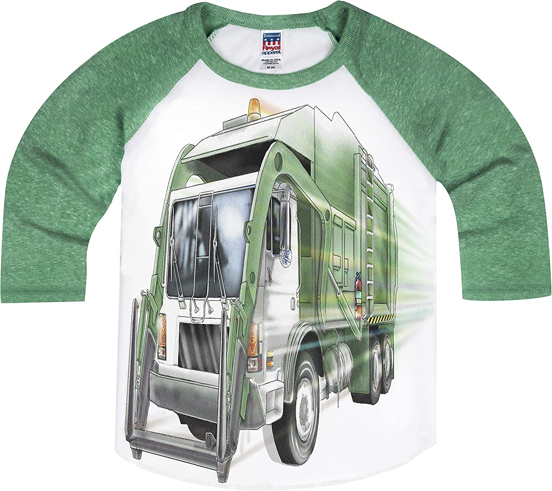 Shirts That Go Little Boys' City Garbage Truck Raglan T-Shirt