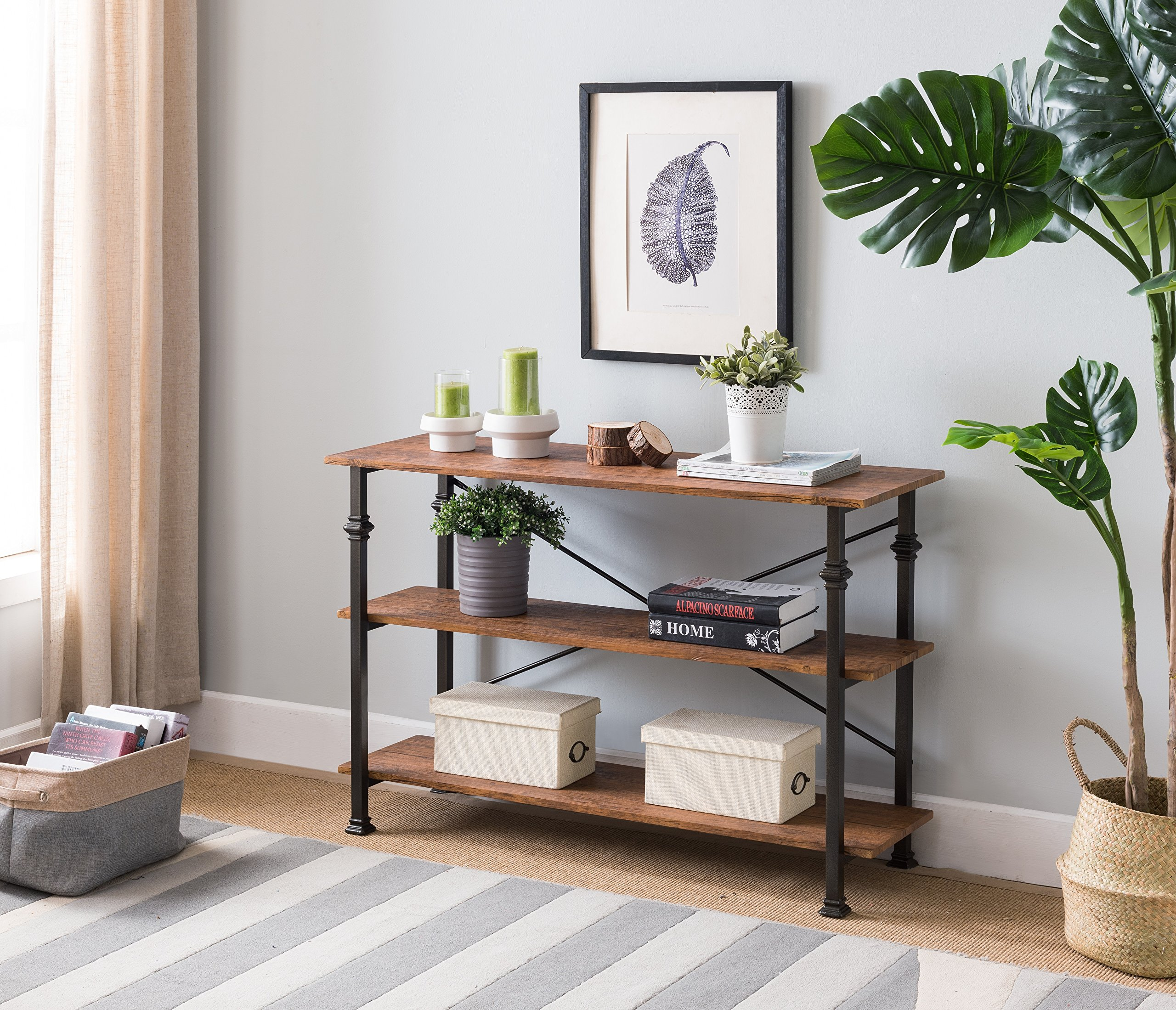 3-tier Vintage Brown/Metal Frame Industrial Style Console Sofa Table by eHomeProducts by eHomeProducts