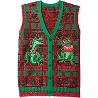 Blizzard Bay Men's Dinosaur Themed Ugly Christmas Sweater Vest, T-Rex Plaid