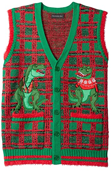 Blizzard Bay Mens T Rex Plaid Vest Ugly Christmas Sweater At Amazon