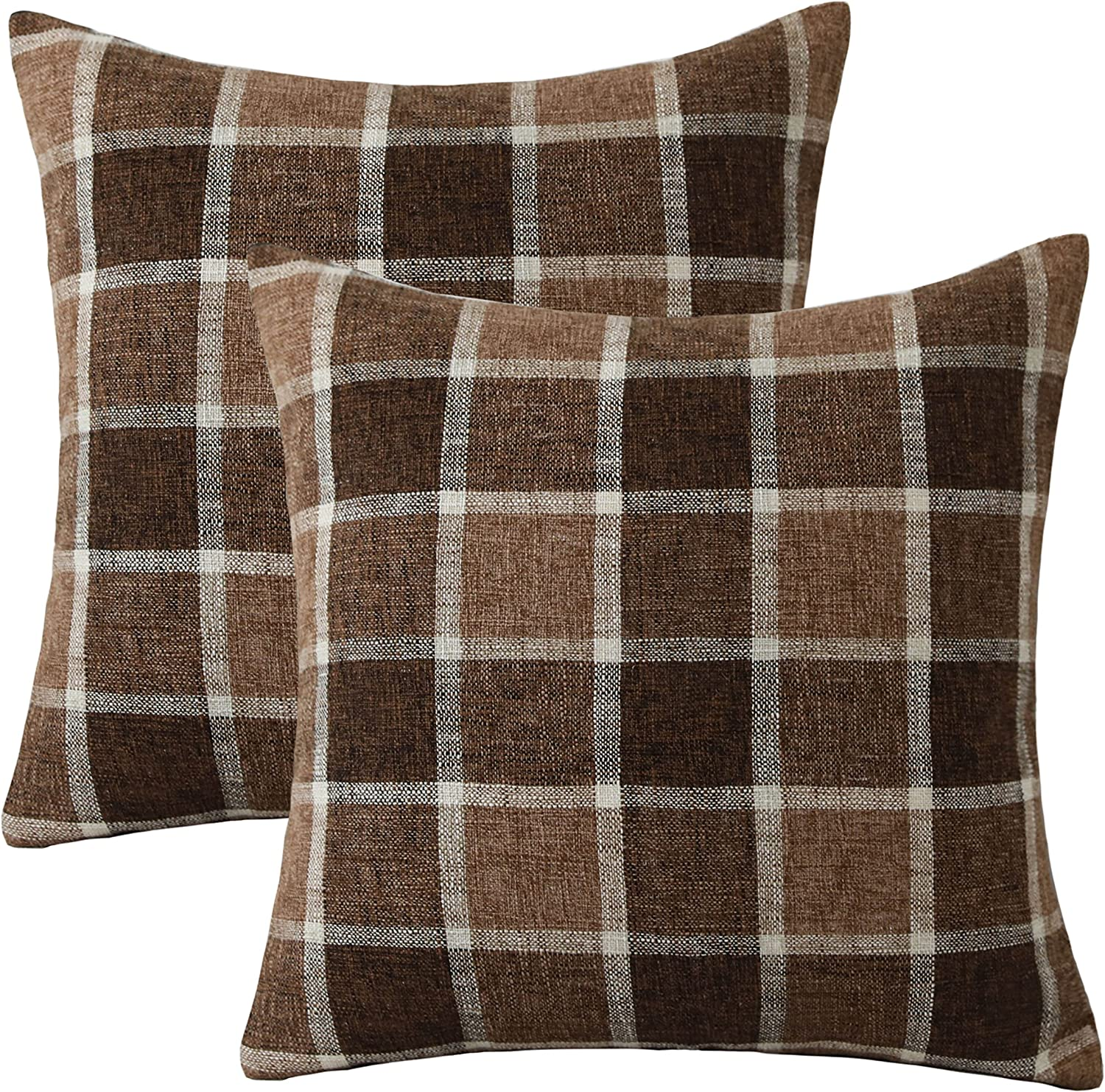 Home Brilliant Outdoor Decorative Throw Pillow Covers for Sofa Bench Couch Cotton Linen Checker Plaids Cushion Covers, Set of 2, 18 x 18 inches(45x45 cm), Chocolate Bar