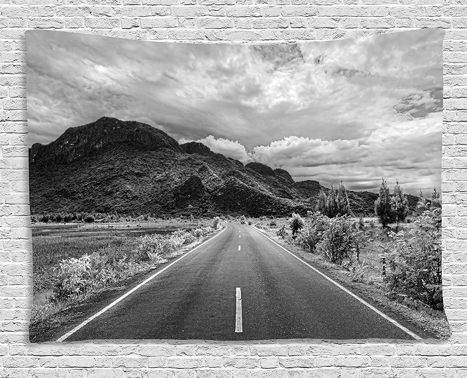 Ambesonne landscape decor tapestry black and white artsy photo of the road leading to a mountain artsy panorama wall hanging for bedroom living room dorm