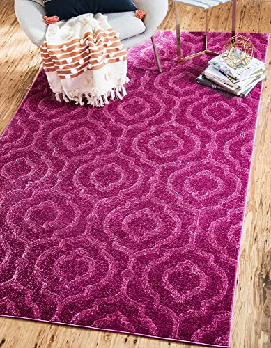 Unique Loom Trellis Frieze Collection Lattice Moroccan Geometric Modern Violet Area Rug 5 0 x 8 0