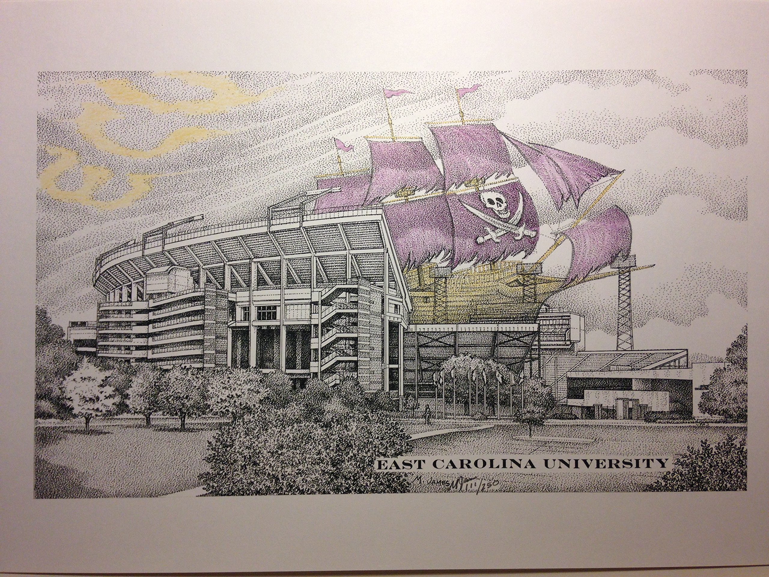 East Carolina University 11''x17'' football stadium with pirate ship pen and ink print