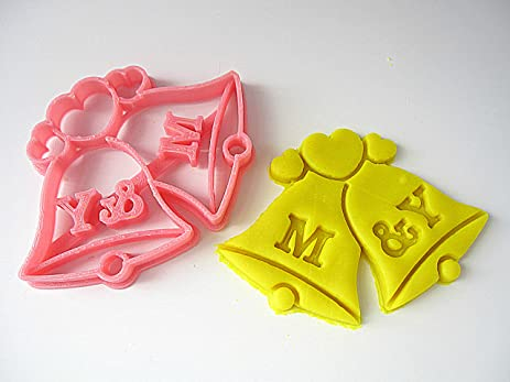 custom wedding bells cookie cutter personalized with initials for bridal shower wedding party