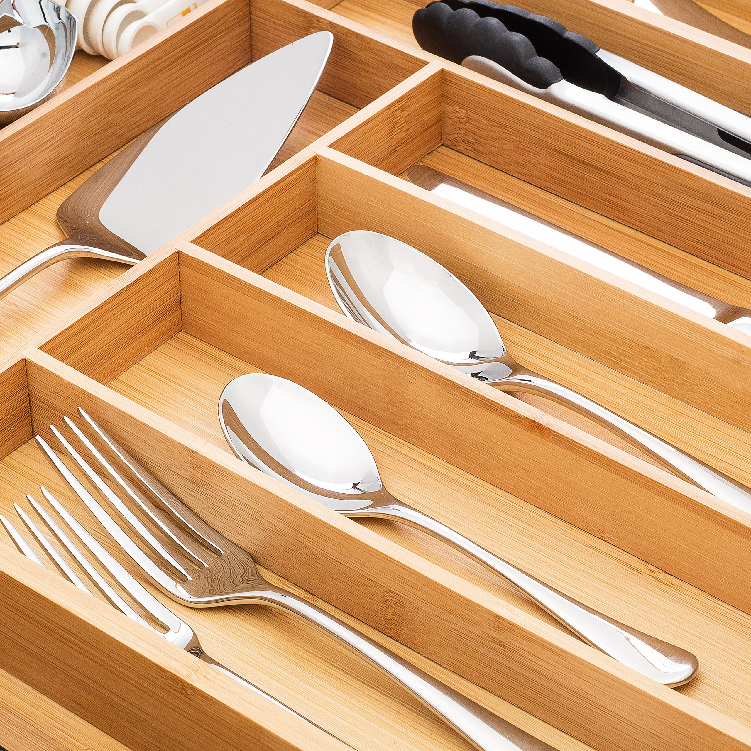 Bamboo Expandable Drawer Organizer, Premium Cutlery and Utensil Tray, 100% Pure Bamboo, Adjustable Kitchen Drawer Divider ... (7 Compartments Expandable) by Artisware (Image #6)