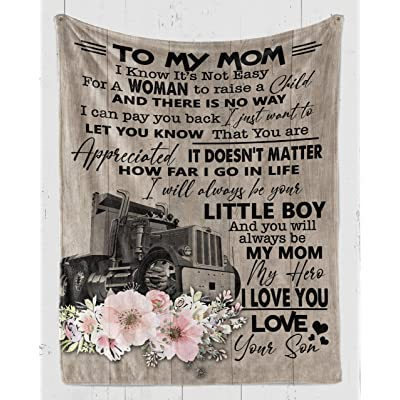 thanhlk Trucker Blanket - Son to MOM - Little BOY I Love You MOM - Fleece Blanket Soft Comfortable Blanket for Sofa Chair Bed Office Travelling Camping: Home & Kitchen