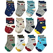 Deluxe Non Skid Anti Slip Slipper Cotton Crew Dress Socks With Grips For Baby Toddlers Kids Boys (3-9 Months, 12 designs/RB-71112)