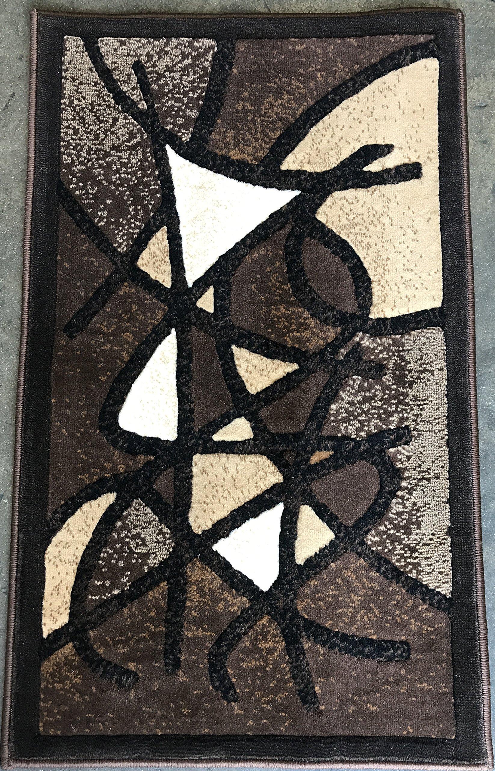 Gallery Modern Abstract Door Mat Chocolate Brown & Black Contemporary Design GL24 (2 Feet X 3 Feet 4 Inch)