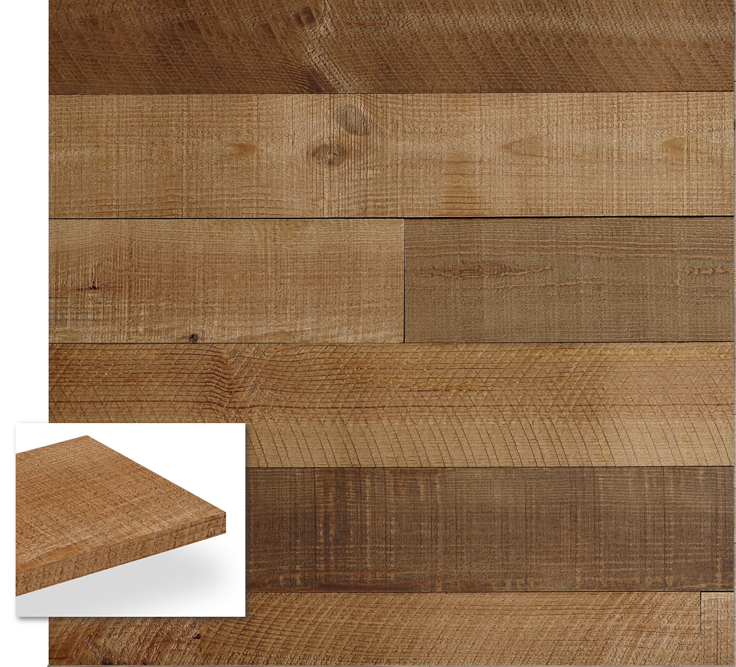 Timberwall - BARNWOOD Collection Heritage Brown - DIY Solid Wood Wall Panel - Easy Peel and Stick application - 9.7 Sq Ft