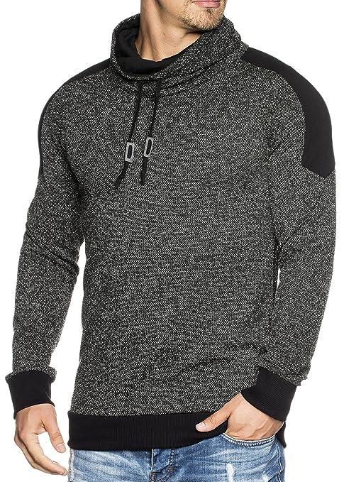 Emimay Herren Strick-Pullover mit stylischem Kragen 105 Schwarz M:  Amazon.de: Bekleidung