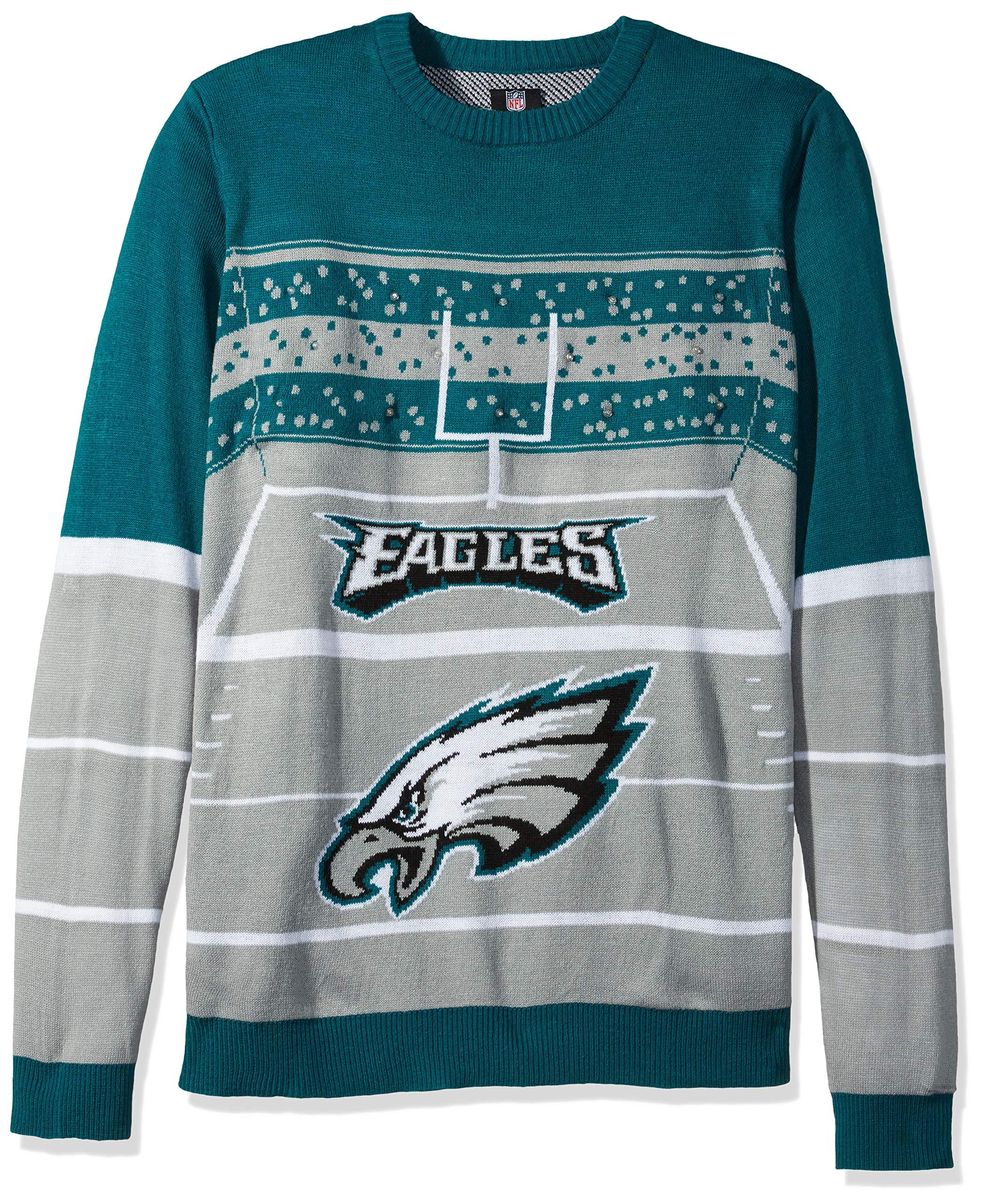 FOCO NFL Philadelphia Eagles Mens Stadium Light Up Crew Neck Sweaterstadium Light Up Crew Neck Sweater, Team Color, Large