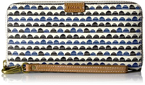 Fossil Emma Rfid Large Zip Wallet-Blue Print