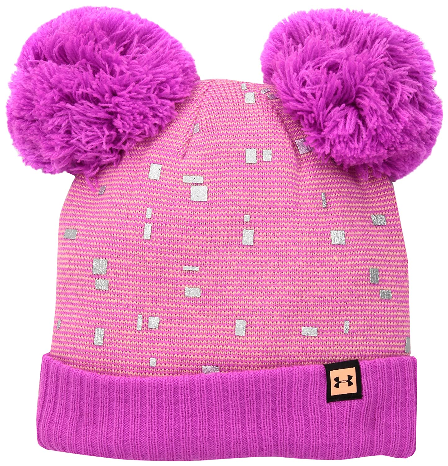 Under Armour Mä dchen Girls Double Pom Beanie Mü tze Black/White (001) OSFA 1318474