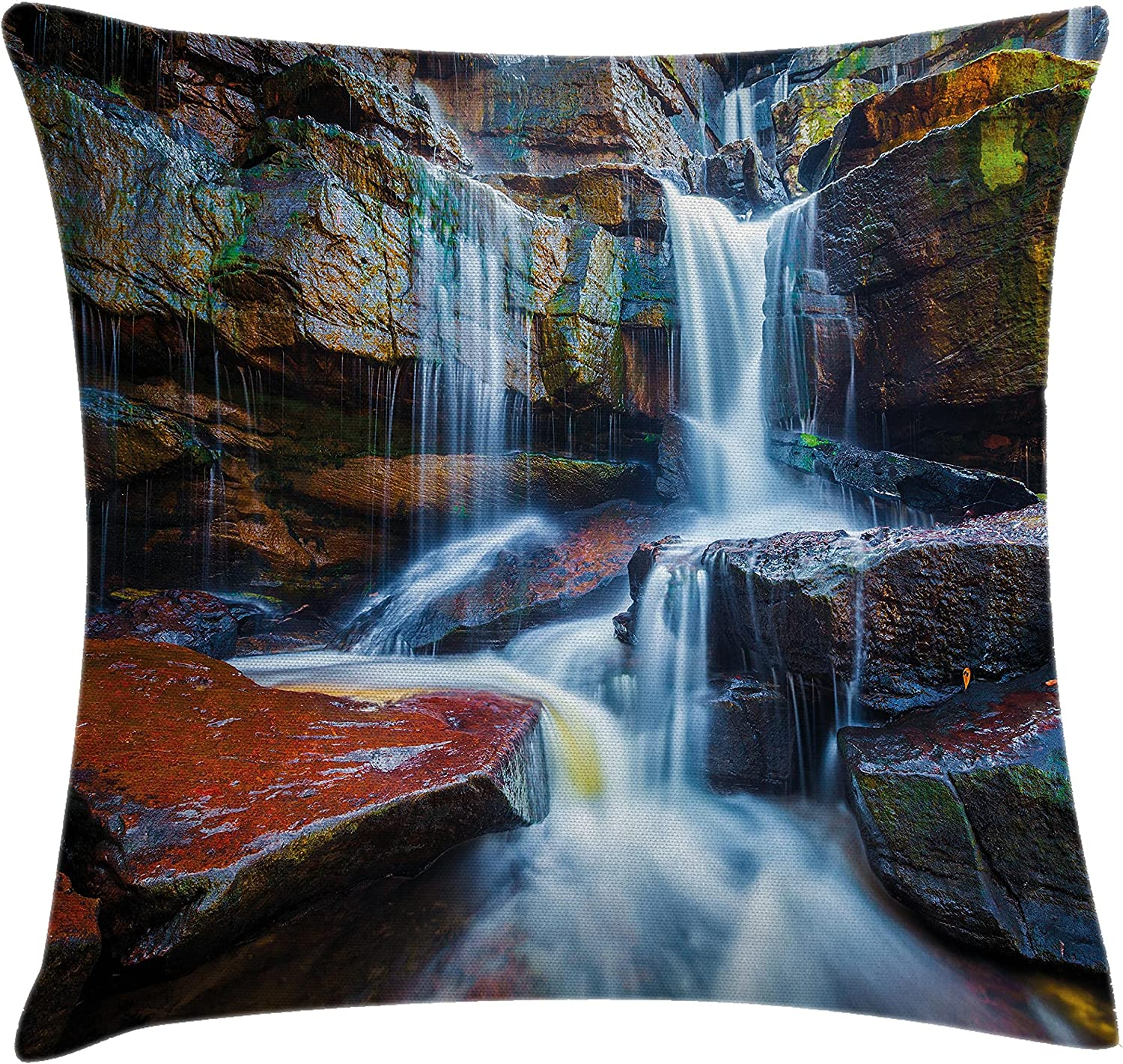 Amazon Com Ambesonne Waterfall Throw Pillow Cushion Cover Multiple Waterfalls Centered Between Rock Steps With Moss On Photography Decorative Square Accent Pillow Case 18 X 18 Brown And White Home Kitchen