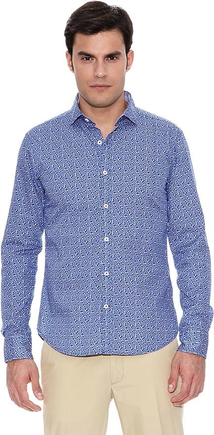 Pedro del Hierro Camisa Non Iron Sport Estampado Azul L: Amazon.es: Ropa y accesorios