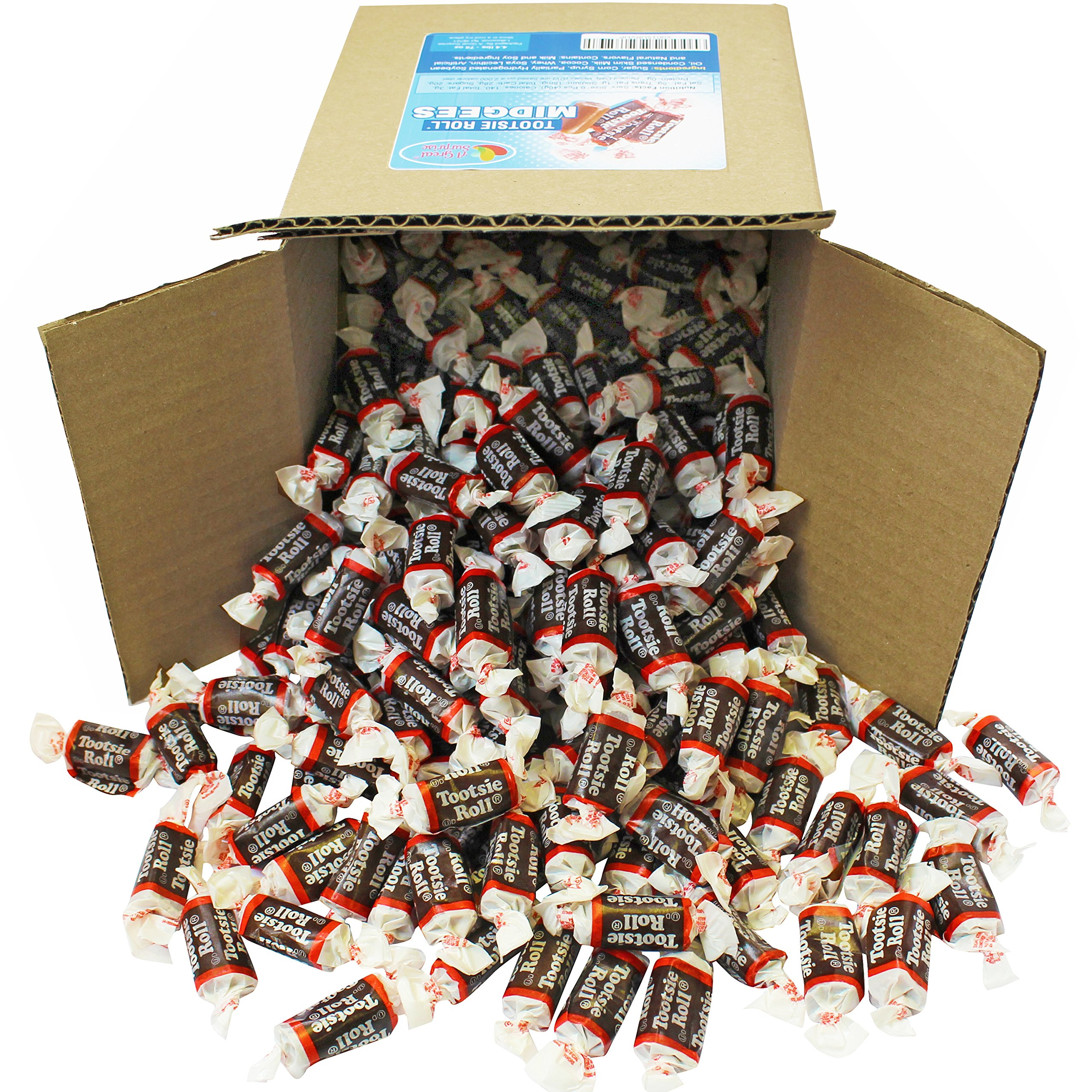 Tootsie Roll Midgees in 6x6x6 Box Bulk Candy 4.4 lbs 70oz by A Great Surprise