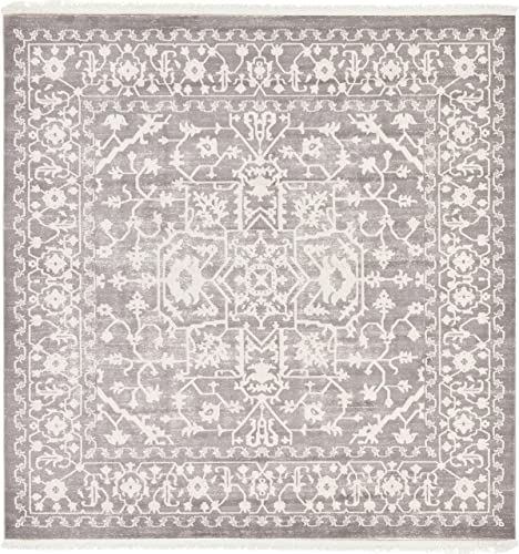 Unique Loom New Classical Collection Traditional Distressed Vintage Classic Light Gray Square Rug 8 0 x 8 0
