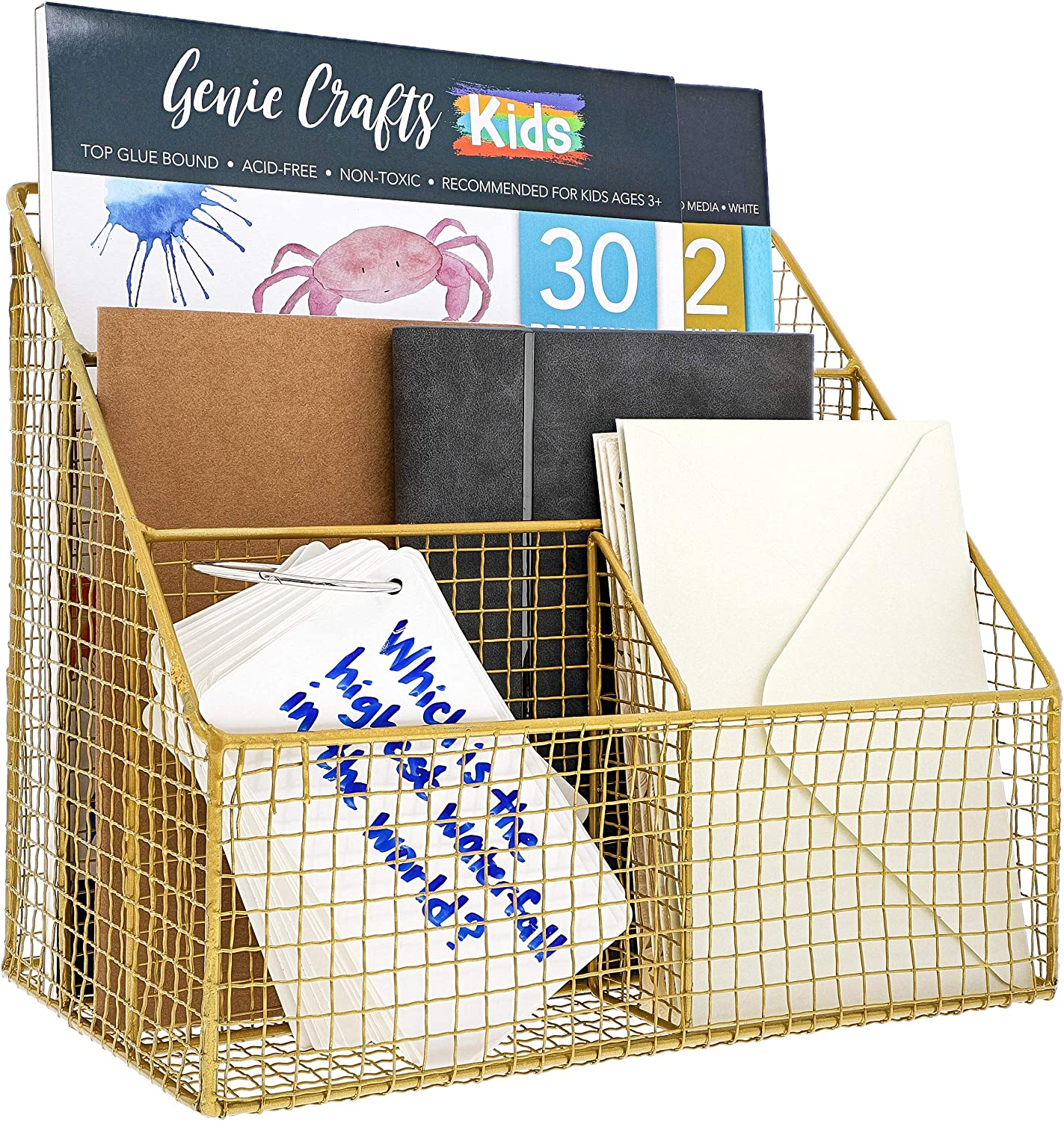 Paper Junkie Gold Desk File Organizer for Letters, Mail, and Accessories, 11.5 x 7 x 10 Inches