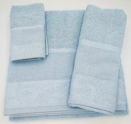 (Celeste) Juego de toallas de baño 3 piezas REGALITOSTV (1 toalla de baño