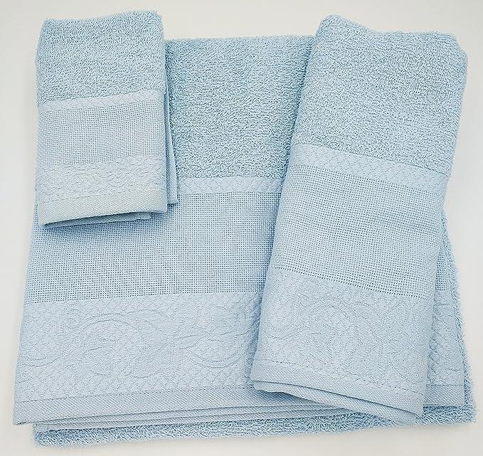 (Celeste) Juego de toallas de baño 3 piezas REGALITOSTV (1 toalla de baño, 1 toallas de manos y 1 toalla cara) 100% algodón, varios colores, ...