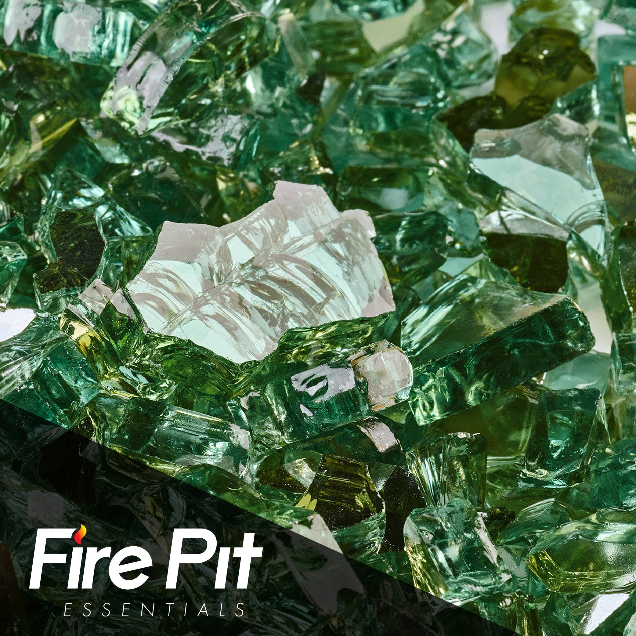 Emerald Green Reflective Fire Glass 1/4'' Firepit Glass Premium 10 Pounds Great for Fire Pit Fireglass or Fireplace Glass