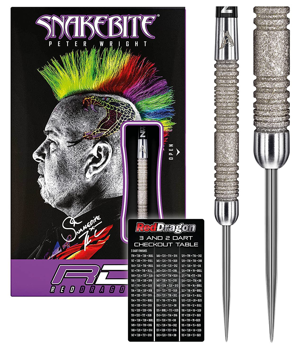 Red Dragon Peter Wright Snakebite Euro 11 Element: 20g - Prima Dardos de Acero con Plumas, eje de dardos & Red Dragon naipe: Amazon.es: Deportes y aire ...