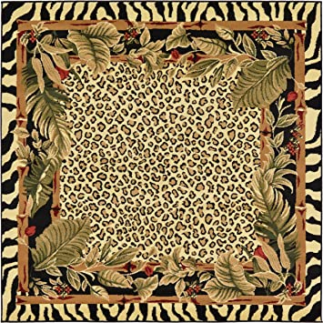 Amazon Com Unique Loom Wildlife Collection Zebra Leopard Botanical