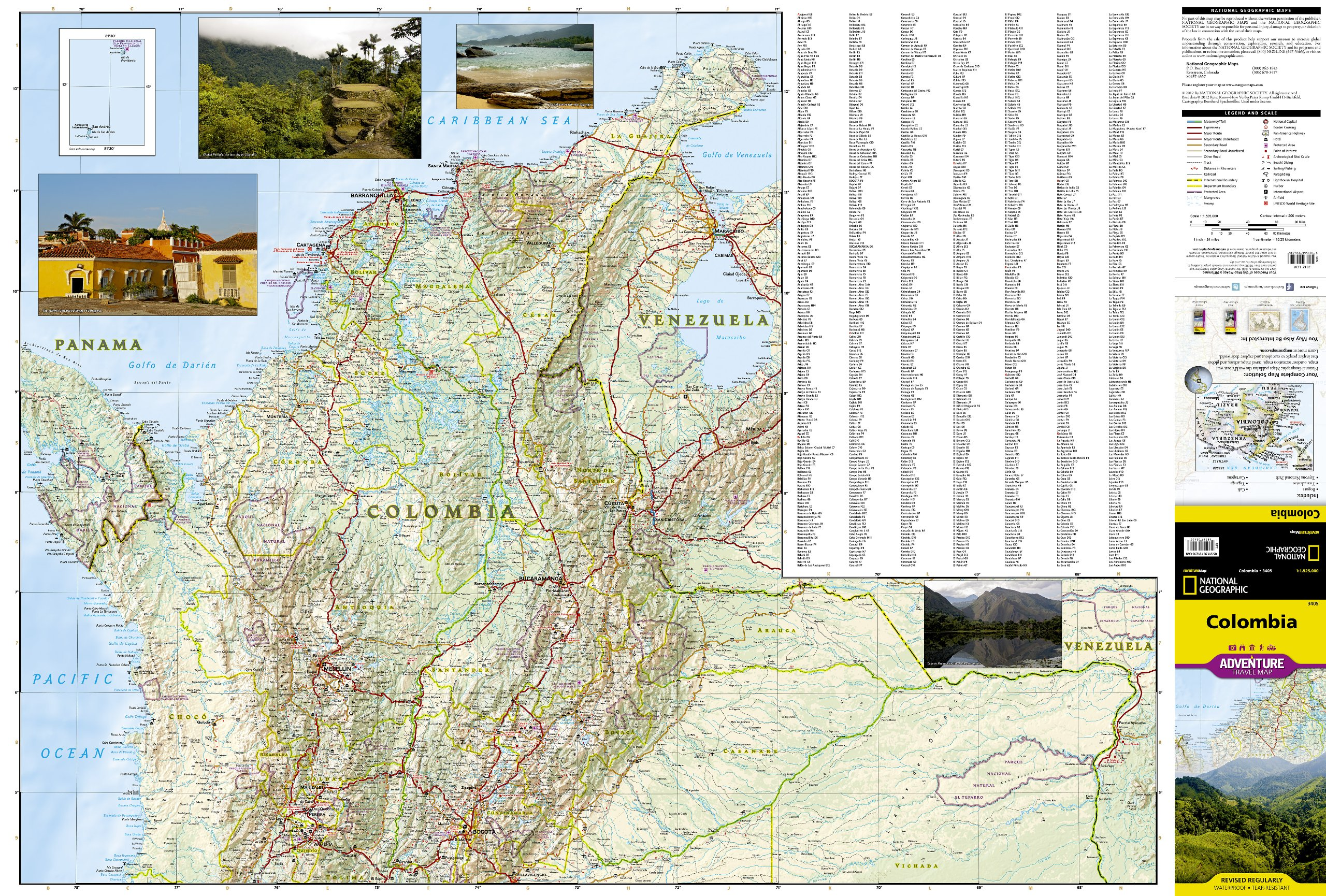 Colombia National Geographic Adventure Map National Geographic