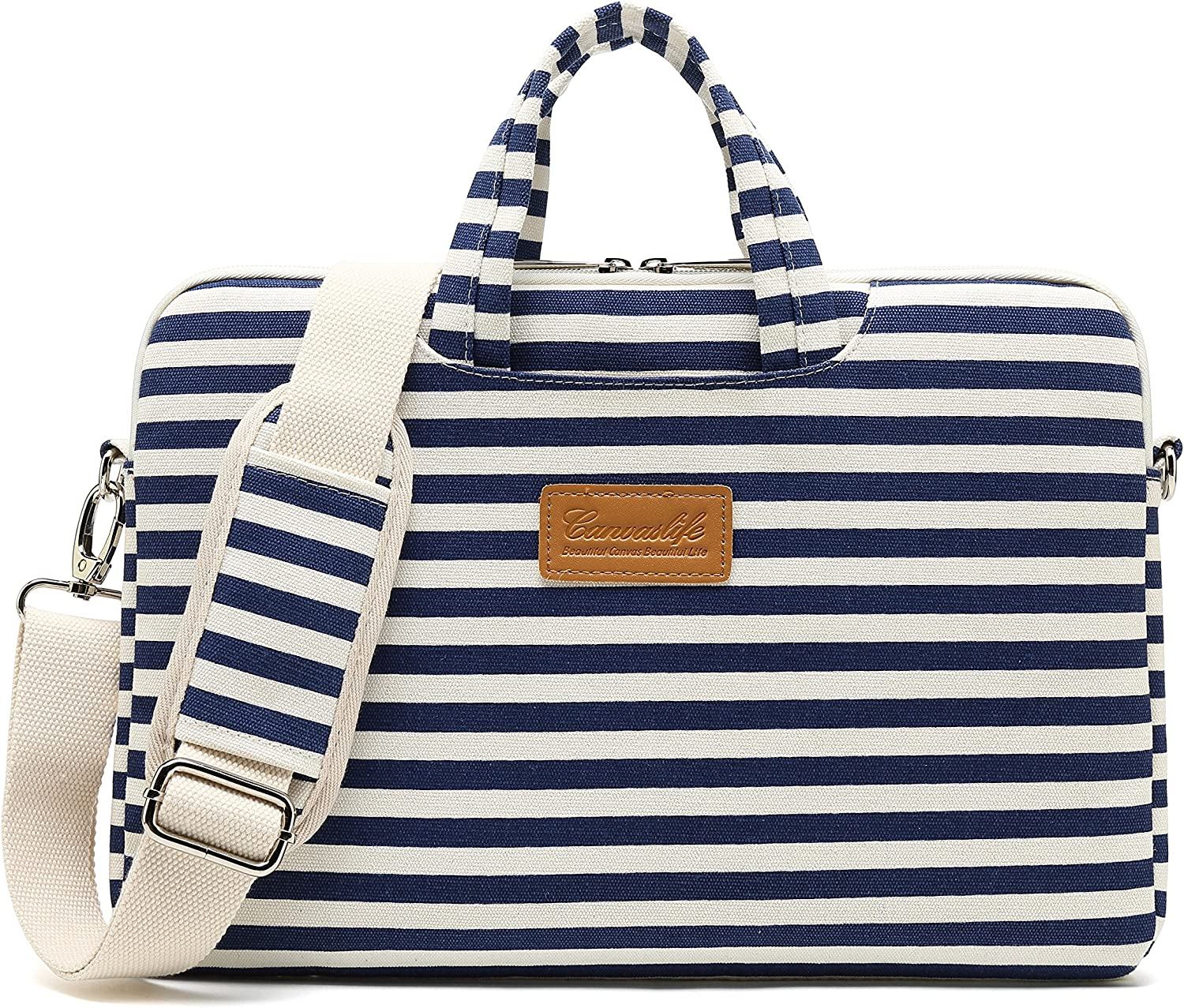 Canvaslife Breton Stripe Pattern 15 inch Waterproof Laptop Shoulder Messenger Bag Case with Rebound Bubble Protection for 14 inch-15.6 inch Laptop 15 Case Bag