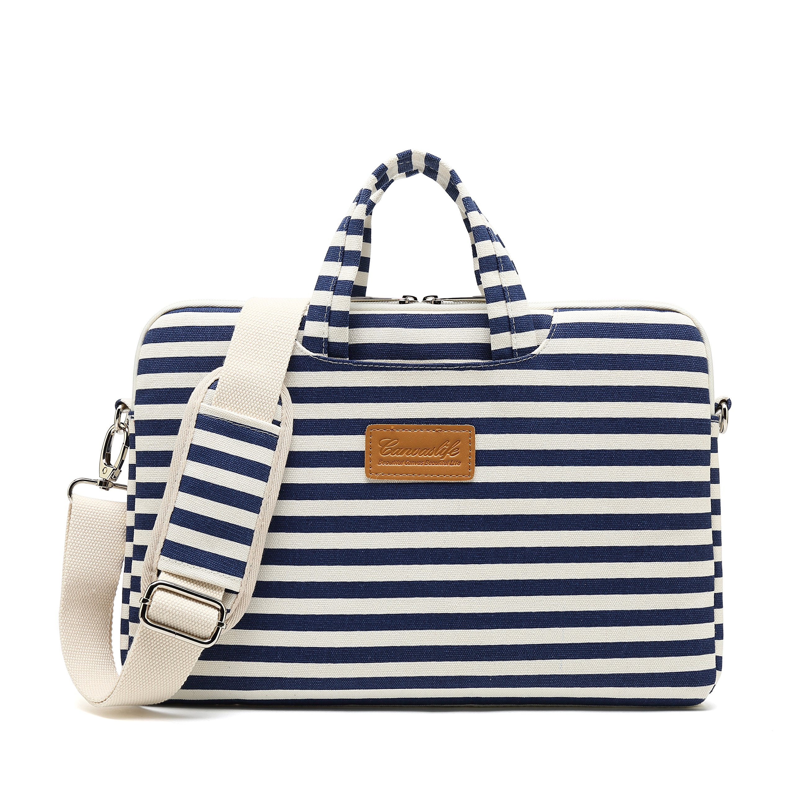 Canvaslife Breton Stripe Patten Waterproof Laptop Shoulder Messenger Bag Case Sleeve for 12 inch 13 inch Laptop and 11/12/13