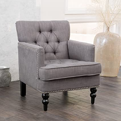 Medford | Button Tufted Fabric Club Chair | In Charcoal Grey