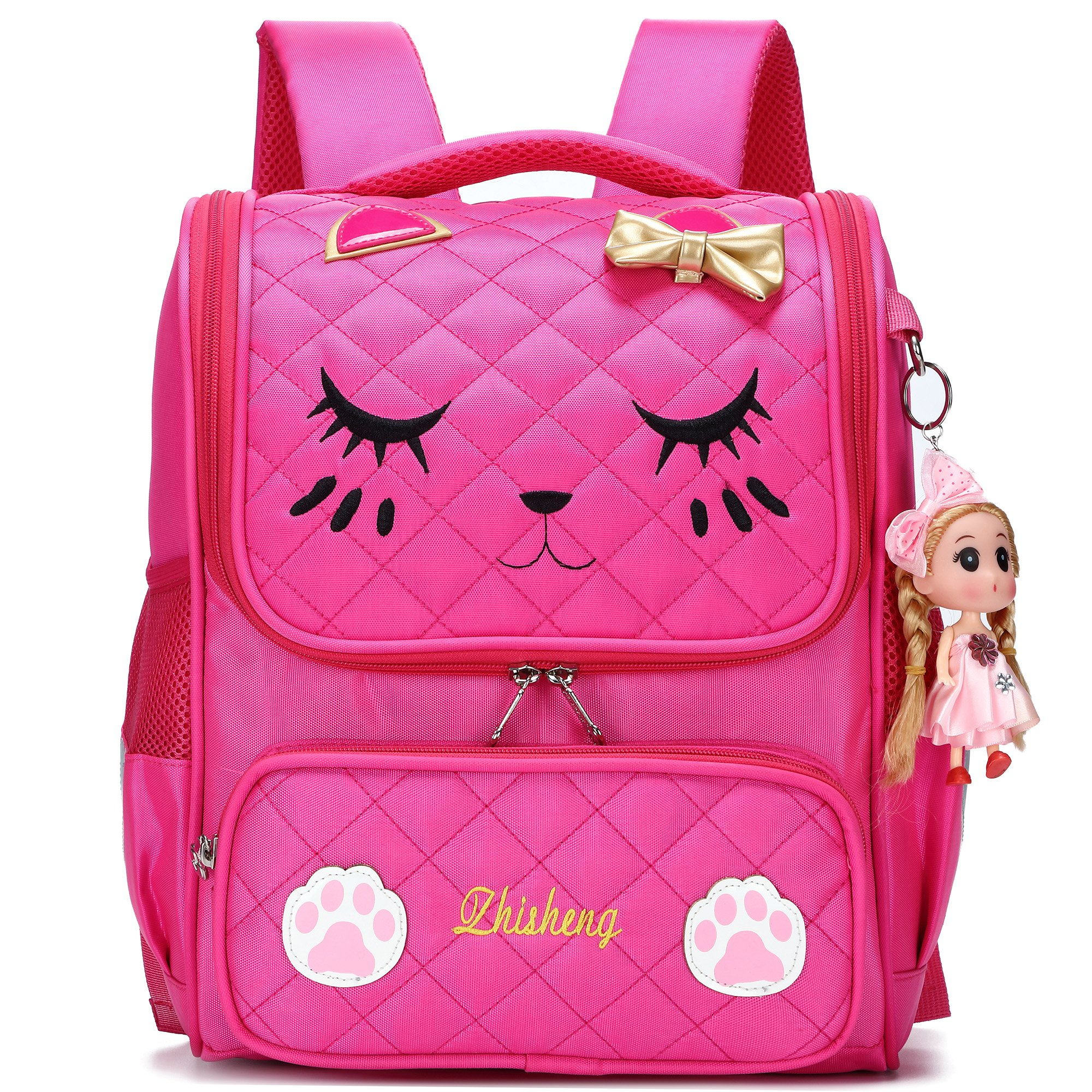 Cute Backpacks for Girls Primary Elementary School Animal Cat Face Kids Bookbags (Rose Red-Small)