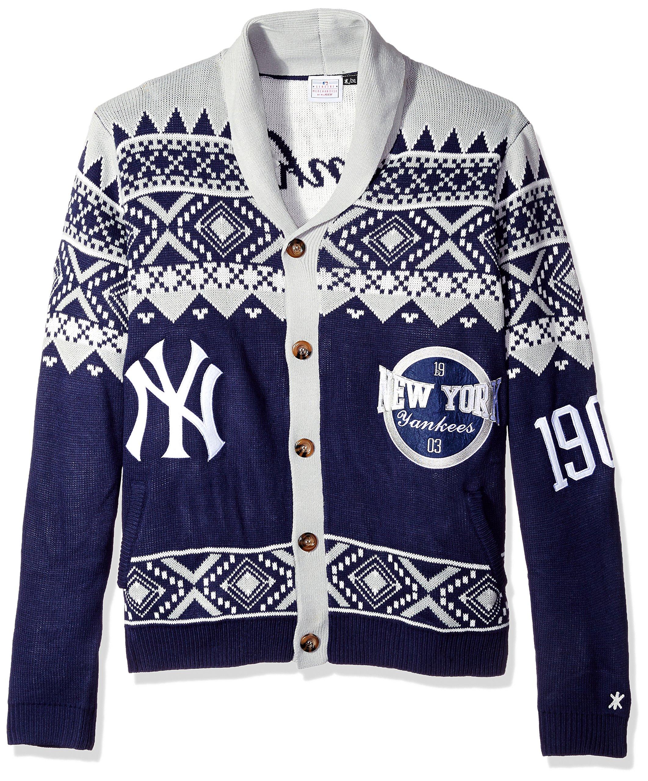 MLB New York Yankees Men's 2015 Ugly Cardigan Sweater, Medium, Team Color