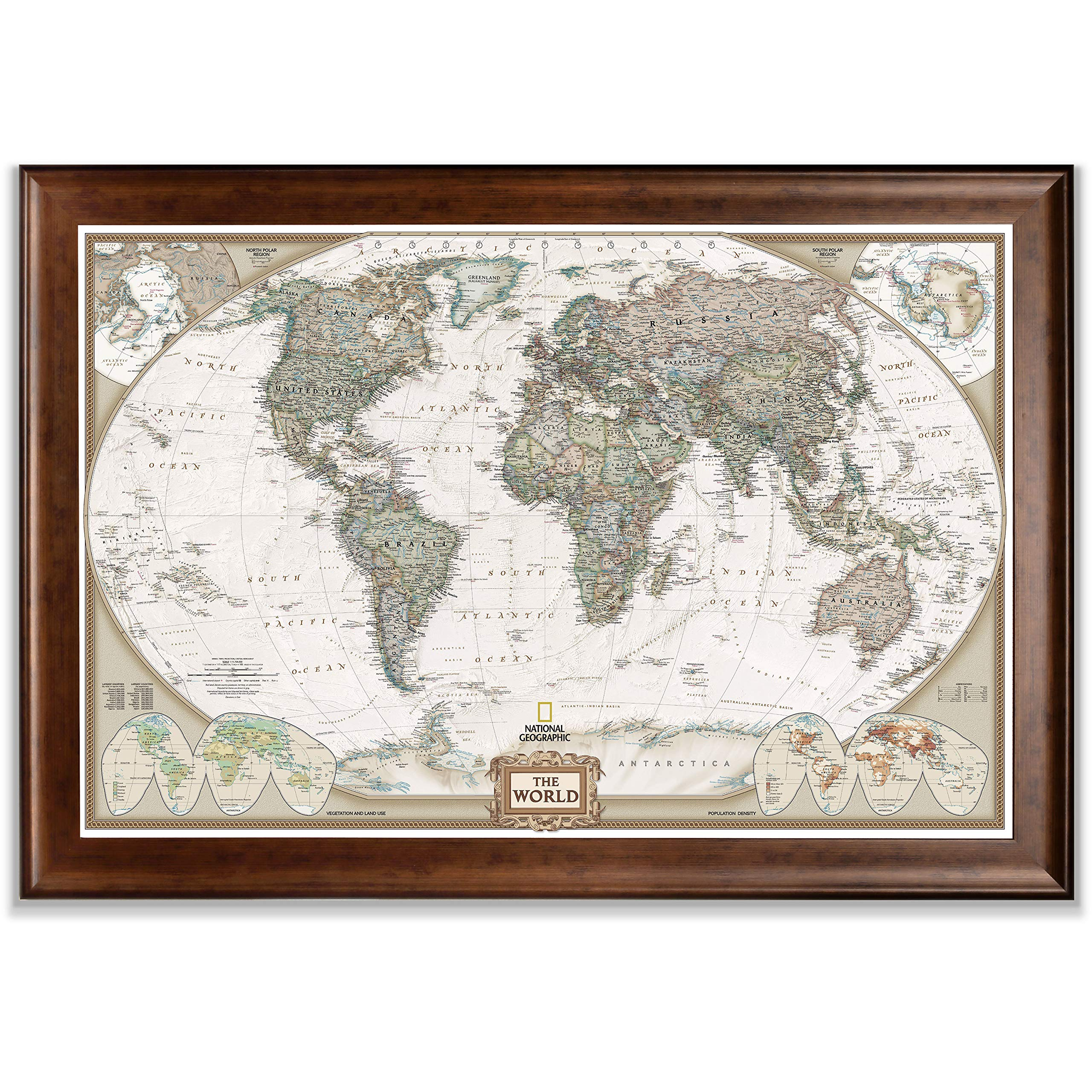 Renditions Gallery Frame Executive National Geographic World Travel Map with Push Pins, Wall Art for Living Room, Bedroom, Office, Dark Walnut, 28x40, by Renditions Gallery