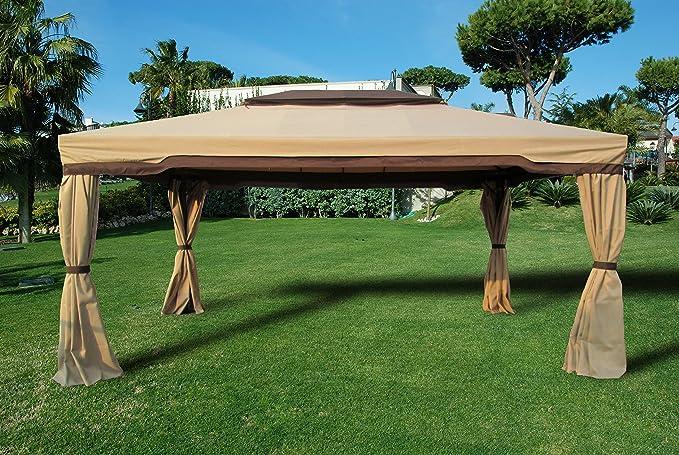 Gazebo da giardino 360 x 480 x 270 cm ecru in tessuto idrorepellente: Amazon.es: Hogar