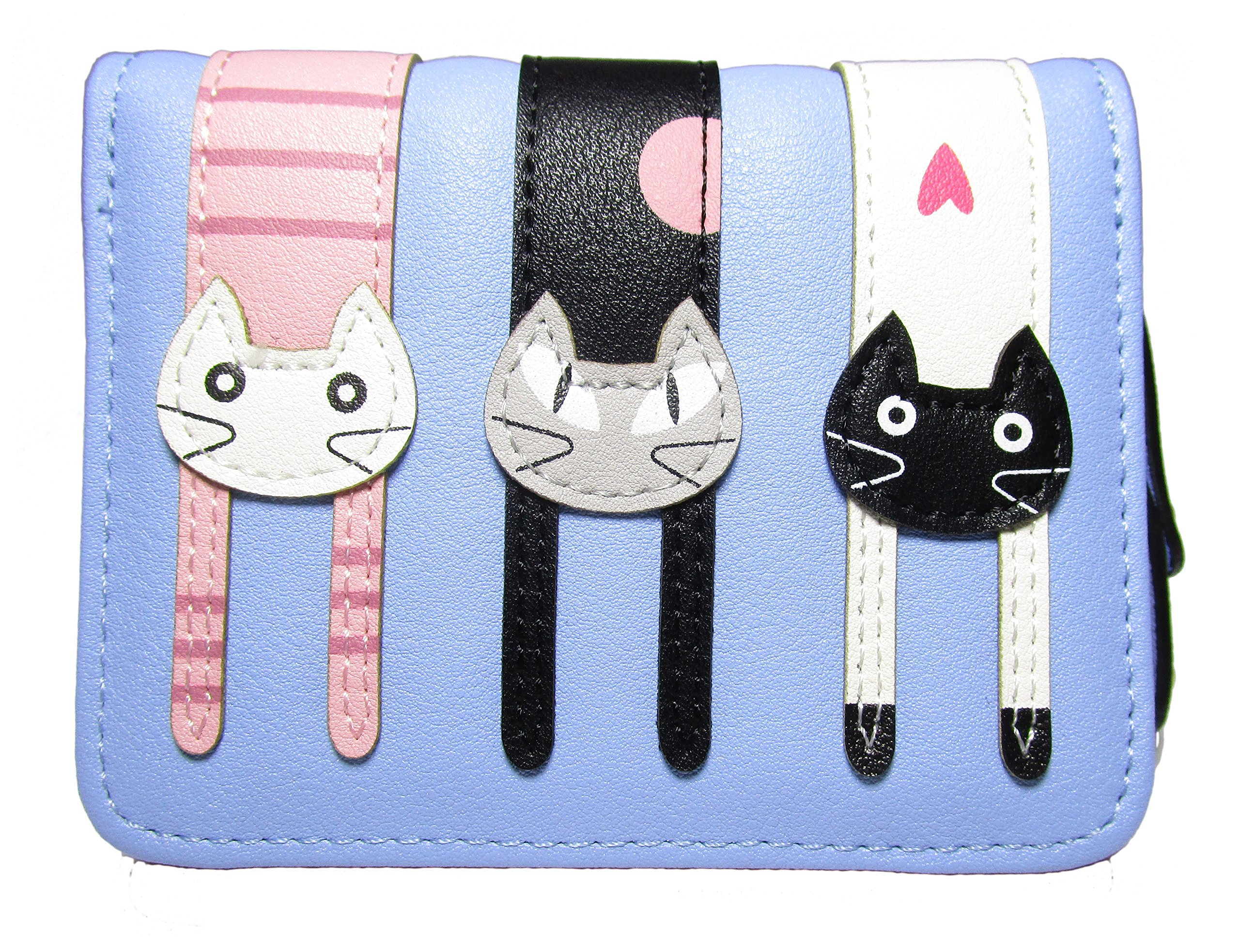 Nawoshow Women Cute Cat Wallet Coin Purse Bifold Wallet Clutch Bag (Blue)