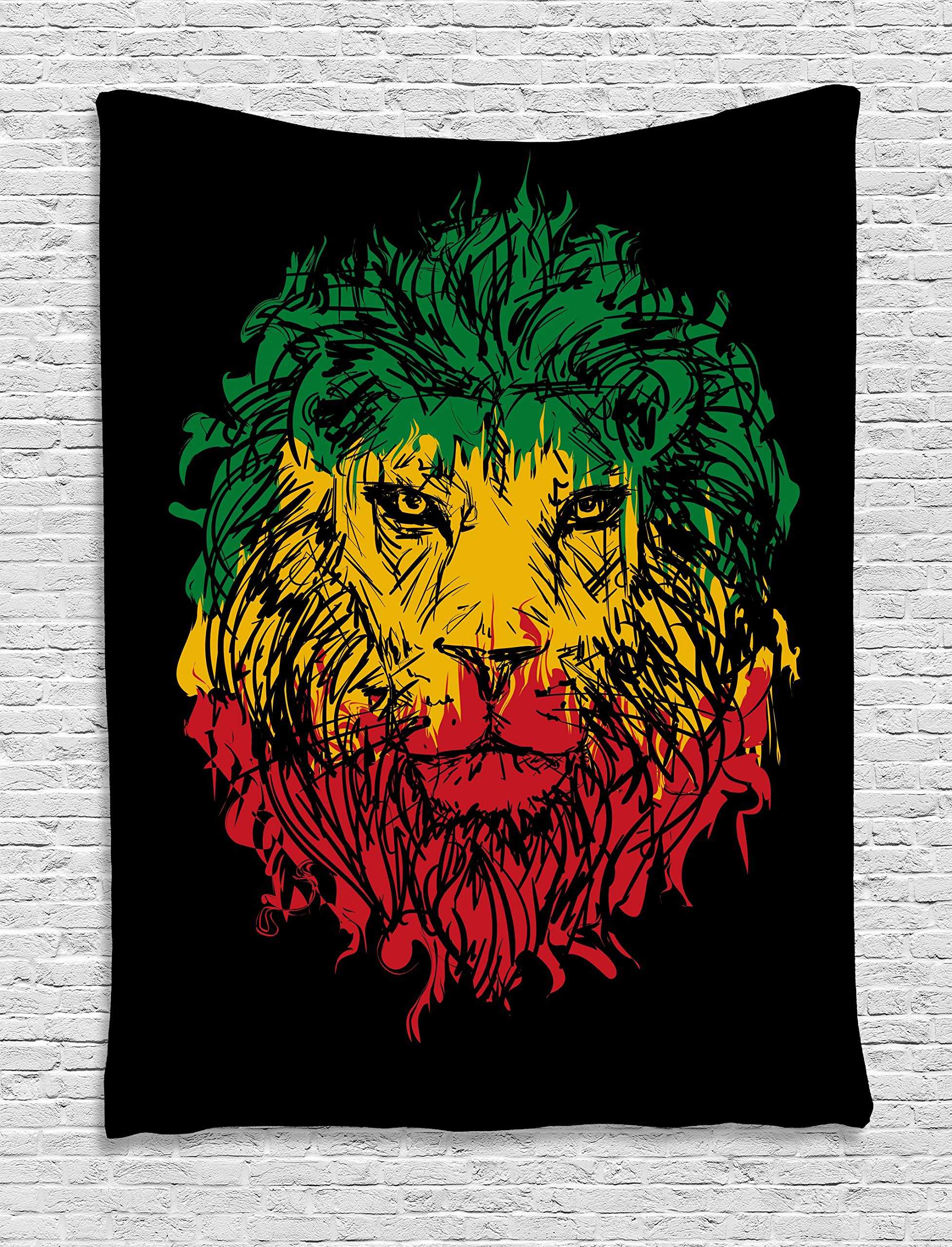 Ambesonne Rasta Tapestry, Ethiopian Flag Colors on Grunge Sketchy Lion Head with Black Backdrop, Wall Hanging for Bedroom Living Room Dorm, 60 W X 80 L Inches, Light Green and Yellow