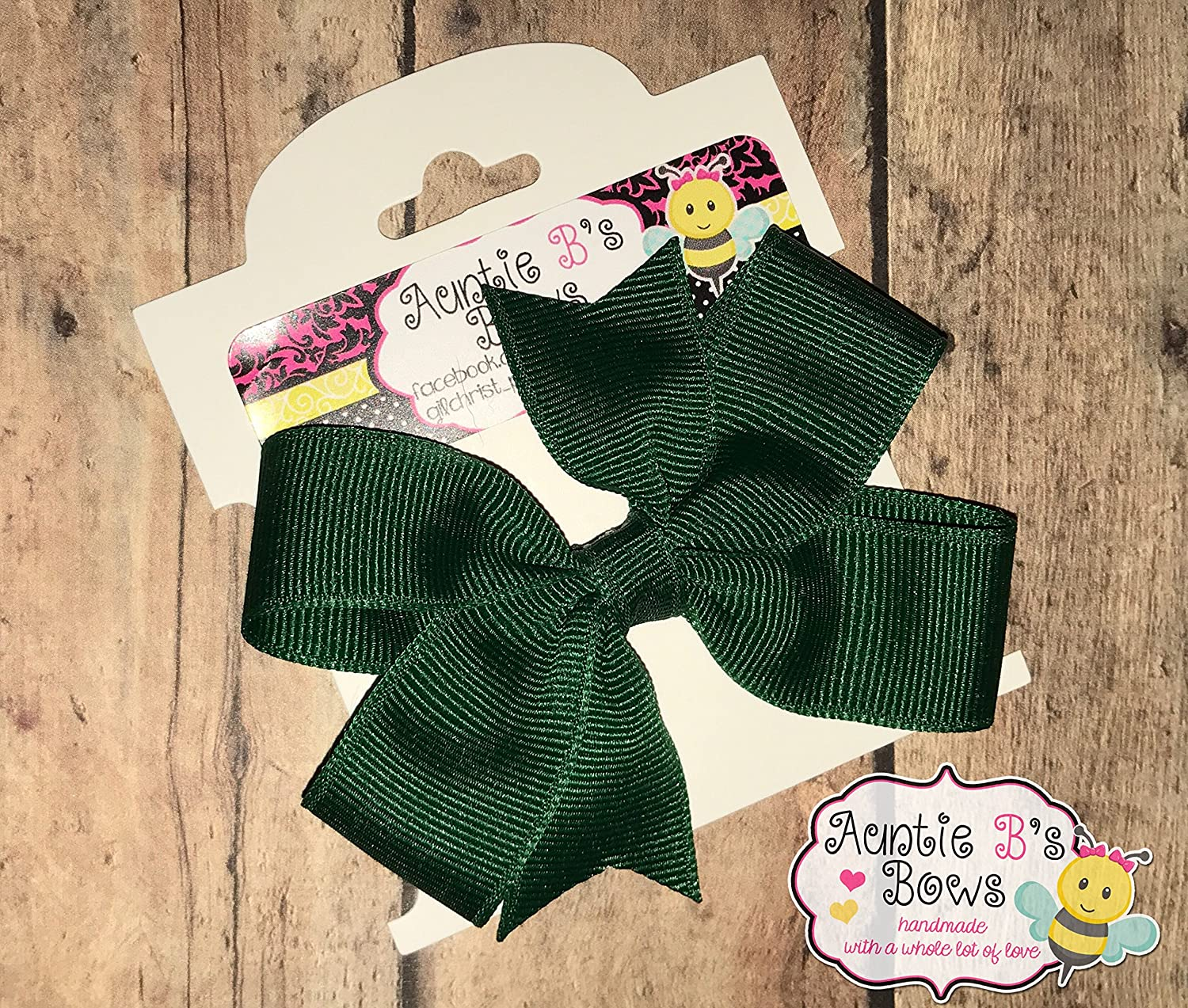 Solid Forest Green Pinwheel Hair Bow 3 MADE IN USA