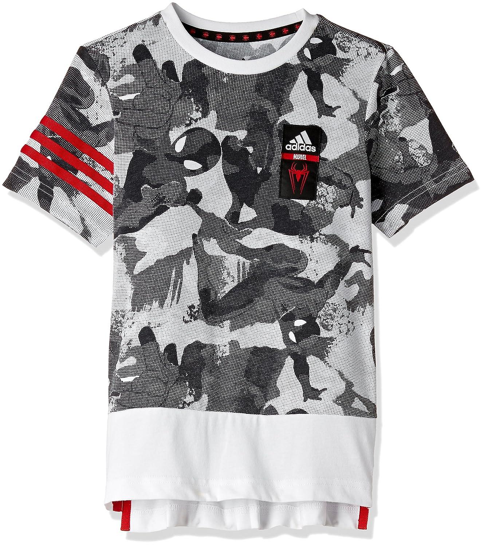 adidas Kinder Lb Dy Sm Tee Shirt Weiss (Blanco/Negro/Escarl) 128 BK1066
