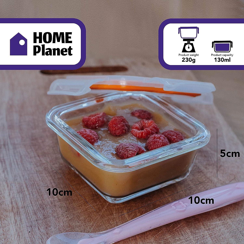 Home Planet Little Set de 6 Contenedores de Alimentos para Bebes Congelador Cubiertos con Sello a presi/ón Lavavajillas para Microondas 2 Cucharas y Funda de Silicona Libre de BPA en Vidrio