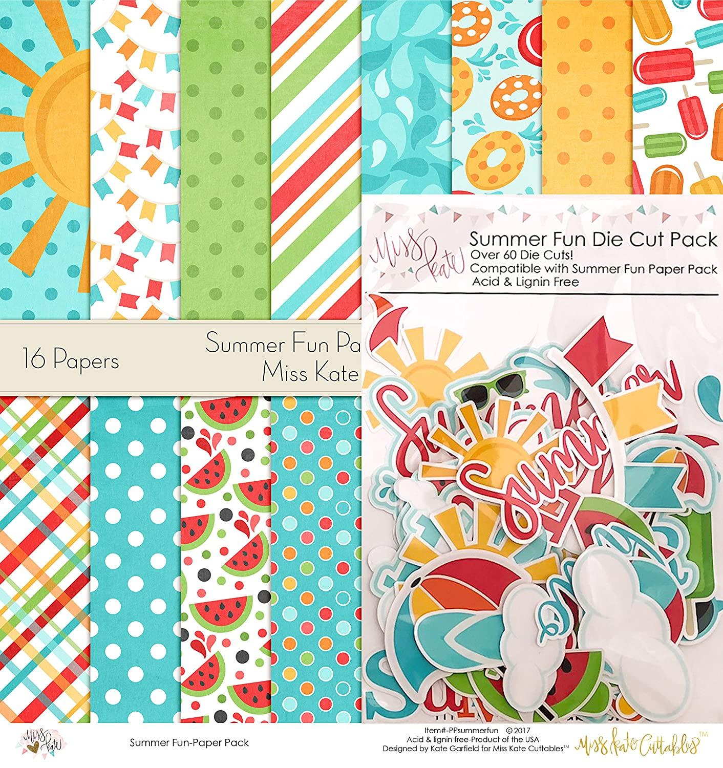 Summer Fun Set - Matching Die Cuts & Paper Kit by Miss Kate Cuttables