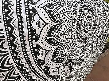 raajsee Toalla de Playa Redondo Blanco y Negro Glorafilia Mandala Hippie Boho Bohemio Gitano Indio de