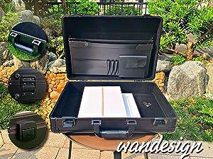 Wandesign Aluminum Briefcase,Wandesign Aluminum Laptop Case (Black)