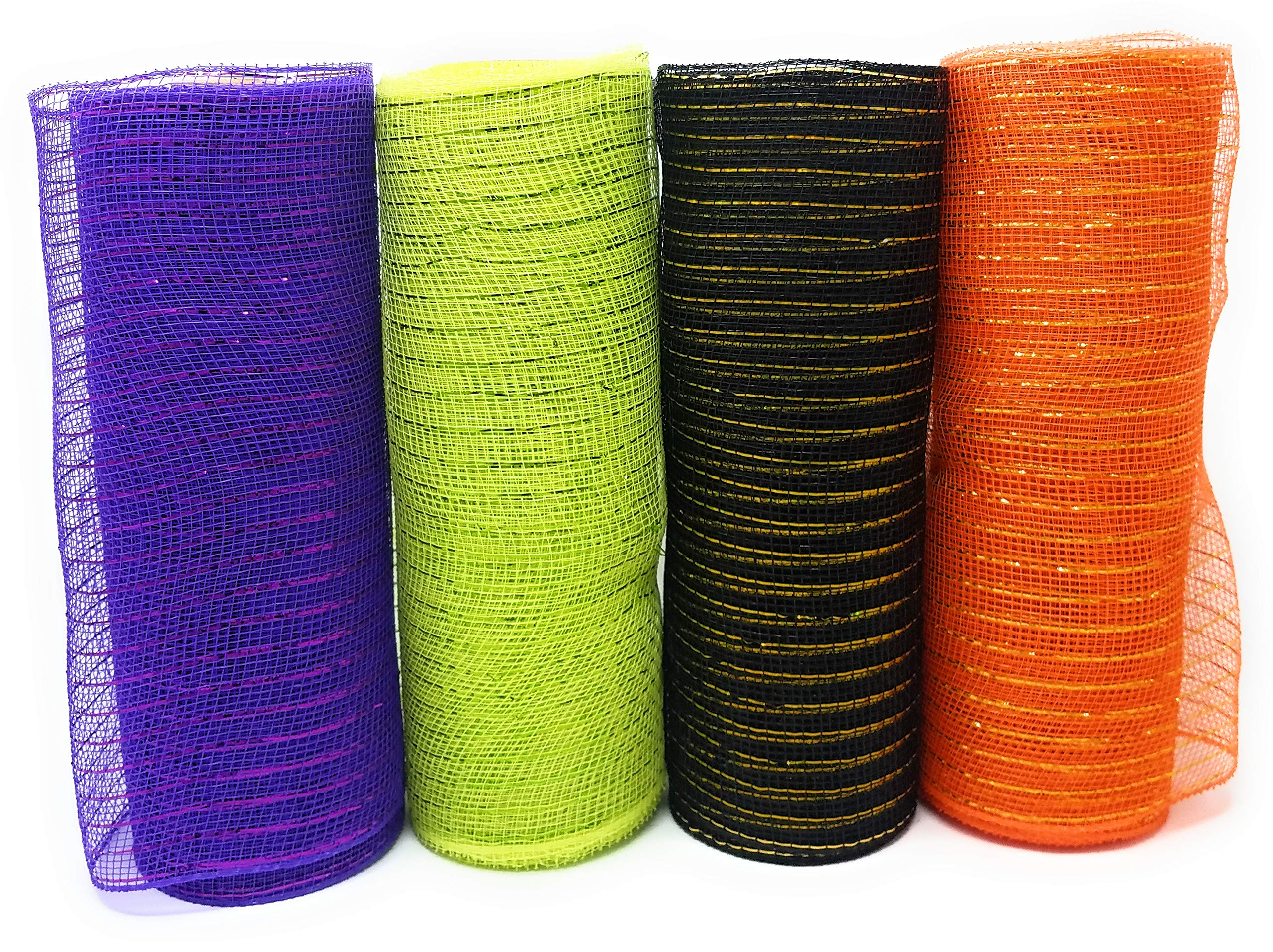 Halloween Decorative 10'' Wide Deco Mesh Rolls (Pack of 4) for Crafting Wire Wreaths (Purple, Orange, Green, Black)